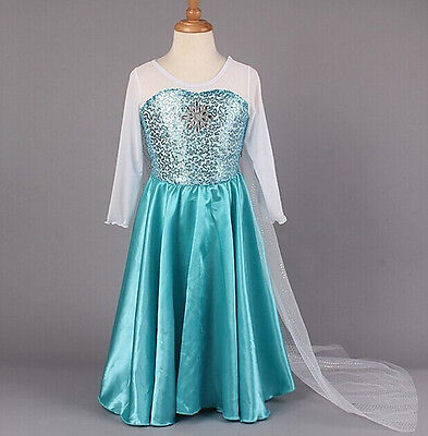 Disney Frozen Elsa Costume Princess Halloween Dress Girl Cosplay White