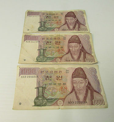 3 x 1000 Won ~ The Bank of Korea  Paper Currency