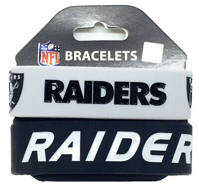 NFL Oakland Raiders Rubber Silicon Bracelet Wristband 2-Pack