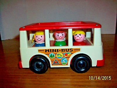 Vintage 1969 Fisher Price Mini-Bus with Five Little People