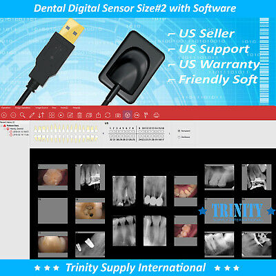 Digital X-RAY Dental Intraoral Sensor Size # 2 +500 Sleeves+Softw+Online Support