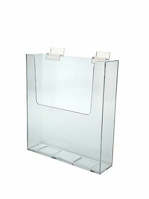 "Clear Acrylic Slatwall Brochure Holder for 9""w Literature"