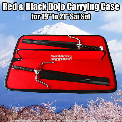 """Red & Black Dojo Carrying Case for 19"""" Sai Set Martial Arts Weapons"""
