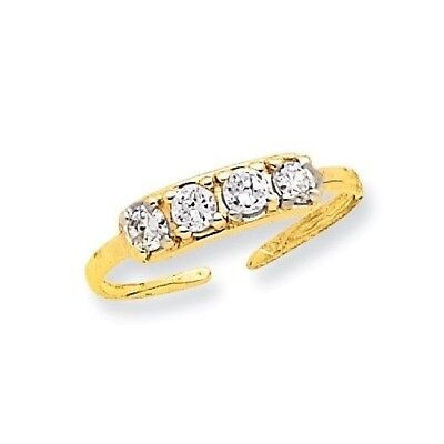 14k Yellow Gold Quad CZ Adjustable Toe Ring  0.65 gr
