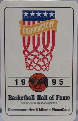1995 Basketball Hall of Fame Commemorative $5 Phone Card Unused