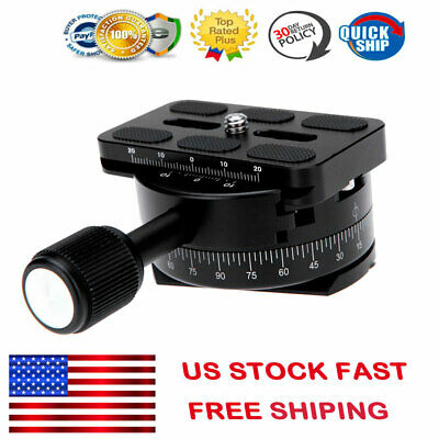 """360 Panoramic Panning Base Video Tripod Head Quick Release Plate Clamp 1/4""""Screw"""