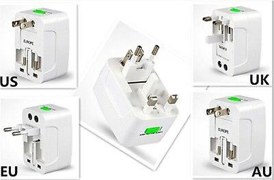 DRUK EU AU UK To Universal World Travel AC Power Socket Plug Adapter Convertor