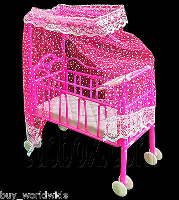 Nursery Baby Cradle Bed Cot Car 1:6 Scale Kelly Doll's House Dollhouse Furniture