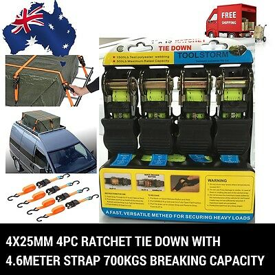 4Pc Ratchet Tie Down With 4.6M Strap 4X25Mm Trailer/truck/roof Rack/motorcycle