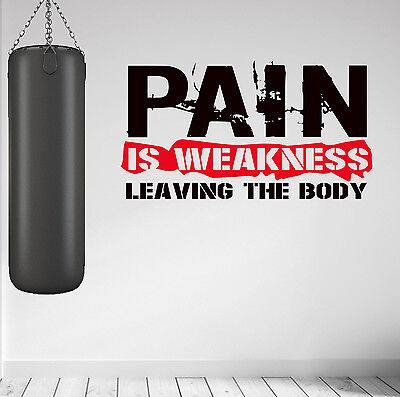 PAIN IS WEAKNESS Workout Weight Training Wall Art Decal Sticker MMA Gym Fitness