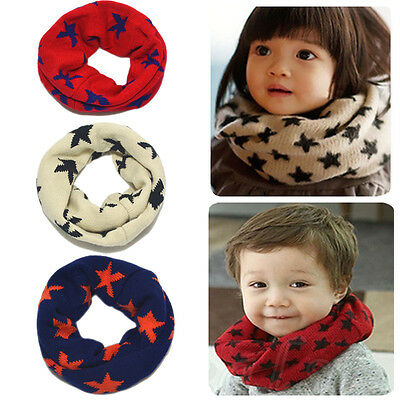 Cute Kids Childrens Woolen Scarf Boy Girl Star Scarf Shawl Winter Neckerchief
