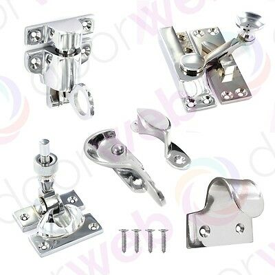 SASH WINDOW FASTENER Lift Wooden Catch Fitch Brighton Tilt Arm Hook Latch CHROME