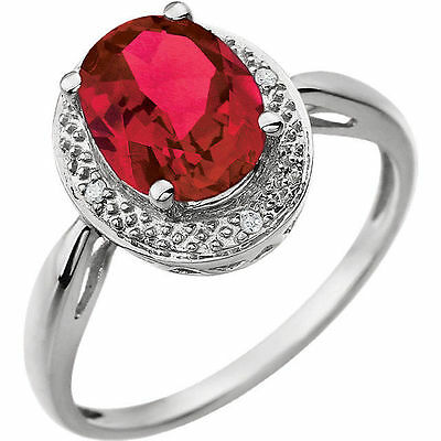 Red Ruby Oval Created Gem & Genuine Diamonds .02 ctw Accents Ring 14K White Gold