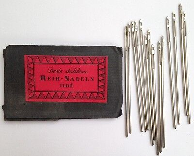 18 Vintage German 6.5cm Needles with double eye