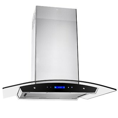 """30"""" Island Mount Range Hood Stainless Steel Touch Screen Display Kitchen Cooking"""