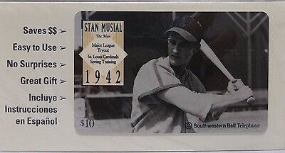 1995 Stan Musial St. Louis Cardinals 10 minute Phone Card Unused Sealed MLB