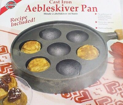 Norpro Cast Iron Aebleskiver Pan Quality Cookwear Heavy Duty Camping Chef