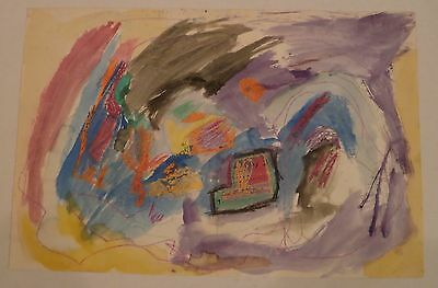 Abstract Mixed Media Painting-12 x 18- 1960s- Israel Louis Winarsky-New Jersey