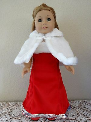 """NEW-DOLL CLOTHES-Red Gown,Capelet,Shoes Set fit 18"""" Doll such as AG Doll-Lot#158"""