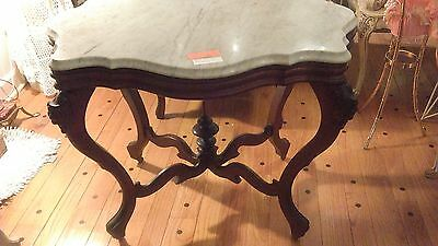 Wood table marble top