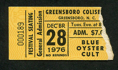 1976 Blue Oyster Cult Concert Ticket Stub Greensboro NC Agents of Fortune Reaper