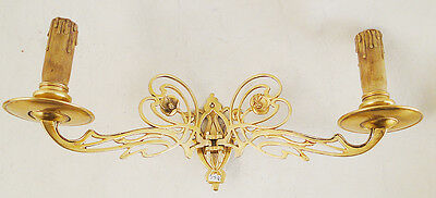 Antique French art nouveau sconces Solid polished gold bronzes wood candles