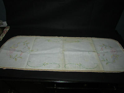Vintage Linen Table Runner Large Embroidered Pastel Flower Patter Lace Edge