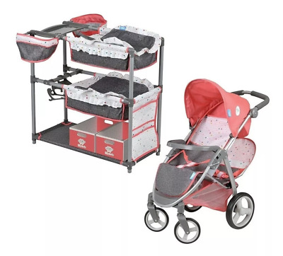 Hauck Twin Doll Play Set (Doll Not Included) Doll Stroller For Kids Play NEW