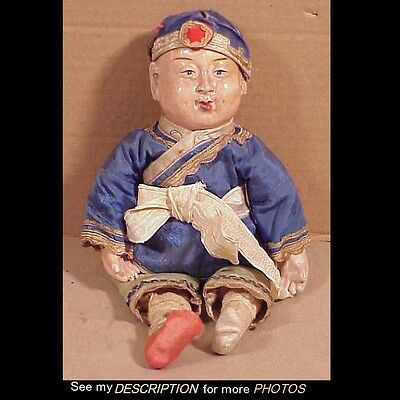 Scarce Antique Chines Composition Boy Doll Signed & Original Clothes