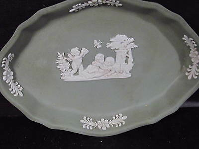 Wedgwood Jasper Green & White OVAL PIN TRAY Cupids Playing Dragonfly