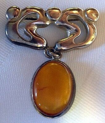 Amber and Sterling Silver Pin/Brooch