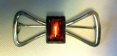 'Bow' Amber and Sterling Silver Pin/Brooch