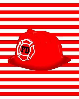 Fireman Fire Fighter Bedroom Bathroom Party Decor Wall Art Hat 8X10 Print