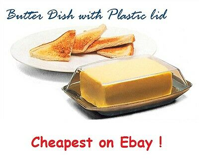 New Stainless Steel Butter Dish With Plastic Lid Tray Holder Serving Storage