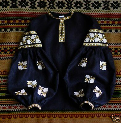 Ukrainian bohemian embroidered black peasant blouse bohostyle, vyshyvanka, shirt