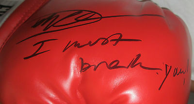"""Dolph Lundgren Signed Boxing Glove inscribed """"I Must Break You"""" with proof"""