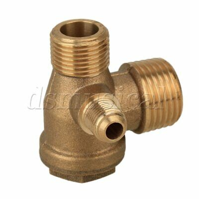 Brass Male Thread Direct Air Compressor One Way Check Valve Gold Tone 18mm Hex