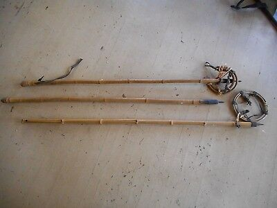 ** Lot of 3 Antique Ski Poles Winter Sports Bamboo Sticks **