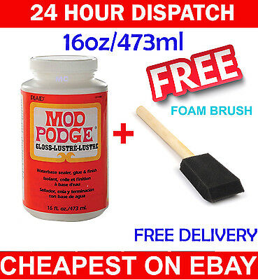 16oz MOD PODGE GLOSS - GLUE SEALER WINE GLASS GLITTER ART & CRAFT DECOUPAGE BEST