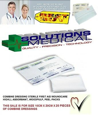 20 x COMBINE DRESSING PADS 10CM x 20CM, STERILE, NON-WOVEN, WOUND CARE FIRST AID
