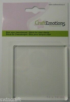 ACRYLIC BLOCK FOR MOUNTING CLEAR STAMPS 74 x 74 x 8mm Craft Emotions 1912