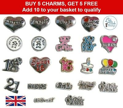 Floating Charms For Living Memory Locket Pendant Necklace Family Birthday Baby