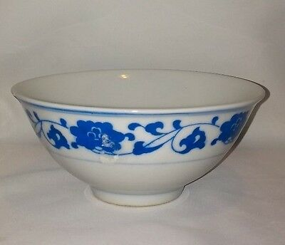 Vintage Asian Blue and White Porcelain Rice Soup Bowl Flowers Signed