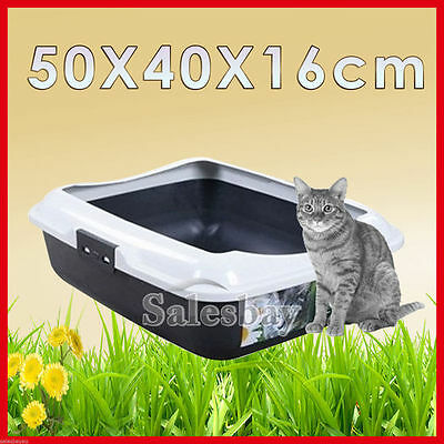 1X 2X Large Quaity Pet Cat Kitty Litter Pan Tray Box With Rim 50X40X16cm
