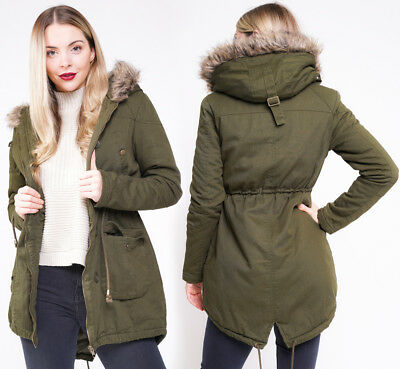 f22925869d1 CANVAS PARKA NEW Womens MILITARY Ladies JACKET COAT PADDED Size 8 10 12 14  16