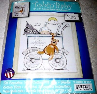 Tobin Baby Counted Cross Stitch Kit BOY BABY BUGGY Birth Record