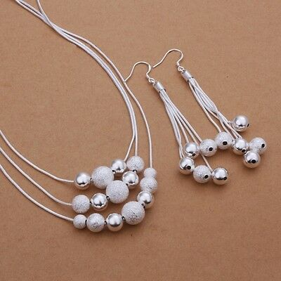 New Women 925 Sterling Silver Plated Fashion Beads Necklace Earring Jewelry Set
