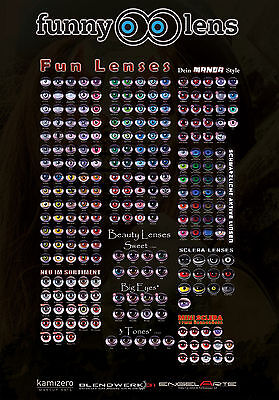 Crazy Fun contact lenses for halloween and carnival in many colors + lens case