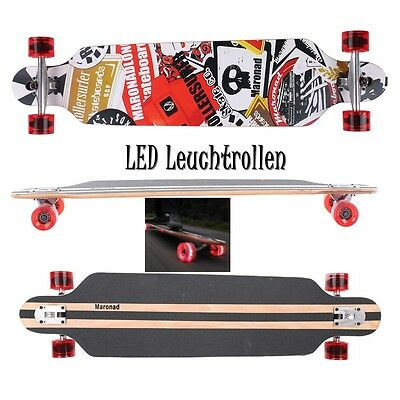 MARONAD ® Longboard Skateboard DROP THROUGH ABEC 11 LED Rollen Leuchtrollen SAT