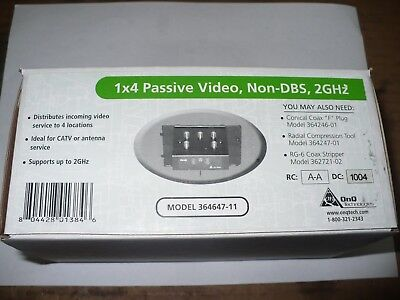 OnQ 364647-11 4-Way Splitter, 1 x 4 Passive Video, 2GHz, New